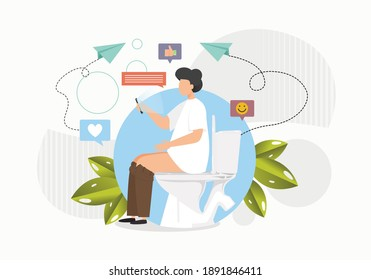 Mobile phone and gadgets addiction concept vector illustration. Man using smartphone while sitting in toilet