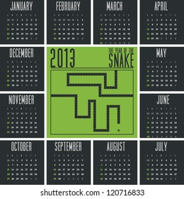 Mobile Phone Game Inspired Pixel Stylish 2013 Calendar of the Year of Snake