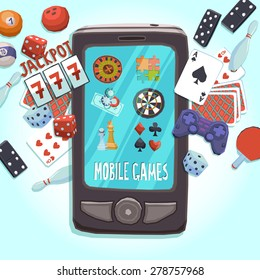 Mobile phone games concept with casino bowling ping-pong dice domino joystick darts and puzzle vector illustration.