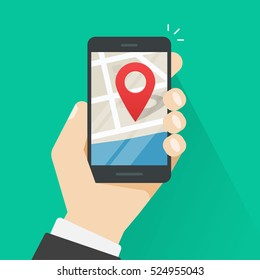 Mobile phone geo location, hand with smartphone gps navigator city map and pin pointer, roadmap direction, idea of quest game route, person found location vector illustration isolated