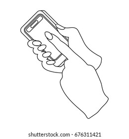 Mobile phone in hand. E-commerce single icon in outline style vector symbol stock illustration web.