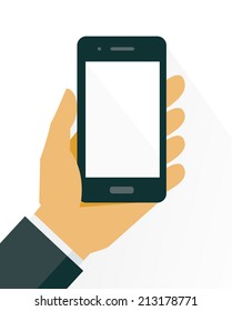 Mobile phone in hand, flat style. Vector illustration