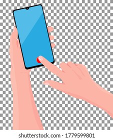 Mobile phone in the hand. Hand is holding black smartphone. Finger touching screen. Vector illustration, transparent background