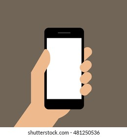 Mobile phone in hand. Hand holding smartphone. Vector illustration
