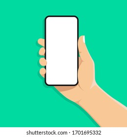 mobile phone in man's hand. Hand holds smartphone. Blank white screen. Touch finger. Modern flat design. Vector illustration with shadow. Isolated on green background.10 eps.
