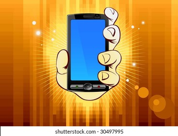 mobile phone in hand on gold background