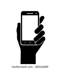 mobile phone in hand vector silhouette on white background