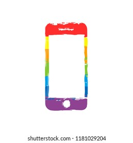 mobile phone icon. Drawing sign with LGBT style, seven colors of rainbow (red, orange, yellow, green, blue, indigo, violet