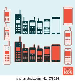 Mobile phone icon. Evolution cellphone vector illustration.