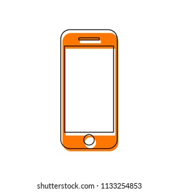 mobile phone icon. Isolated icon consisting of black thin contour and orange moved filling on different layers. White background