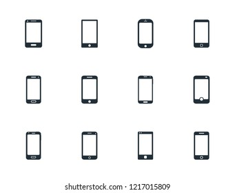 mobile phone icon set, smartphone sign vector illustration