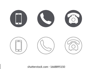 Mobile phone icon simple flat vector illustration. Modern telephone symbol set for support contact pointer design isolated on white background. Customer service communication smartphone button