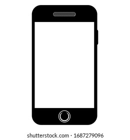 Mobile phone icon. Smartphone with blank screen. Flat simple style. Mobile icon. Vector illustration on white background