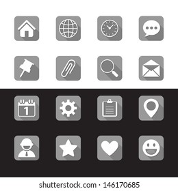 Mobile Phone icons with Long shadow on black & white background