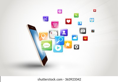 mobile phone and icons media technology vector design