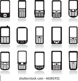 Mobile phone icons set. Vector