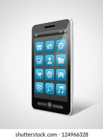 Mobile phone and icons vector illustraion