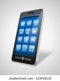Mobile phone and icons vector illustration