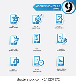 Mobile phone icons,Blue version,vector