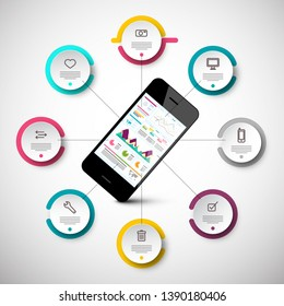 Mobile Phone Infographic App Layout with Circle Graphs. Vector Technology Data Chart Flow Infographics Design.