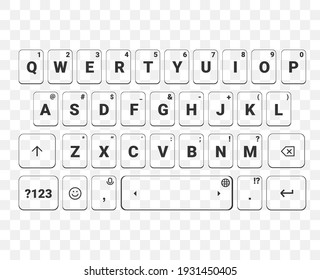 Mobile phone keypad. Screen smartphone keyboard. Alphabet buttons. IIsolated on transparent background. Illustration vector