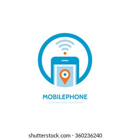 Mobile phone location vector logo template concept illustration. Smartphone creative sign. Modern technology symbol. Cellphone icon. Wi-fi. GPS. Design element.