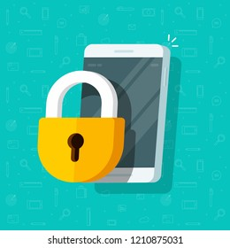 Mobile phone with lock vector illustration,  flat cartoon locked smartphone via padlock guard, concept of security or privacy, cellphone protection technology, safe authorization, prohibited access