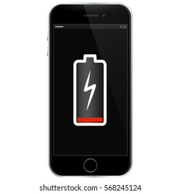Mobile Phone With Low Battery Vector Illustration