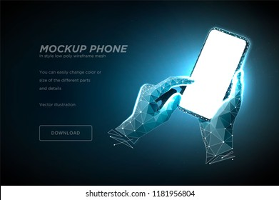 Mobile phone low poly wireframe art on dark blue background. Smartphone with blank white empty screen in holding man hand and fingers. Polygonal illustration with connected dots and lines. 3D vector