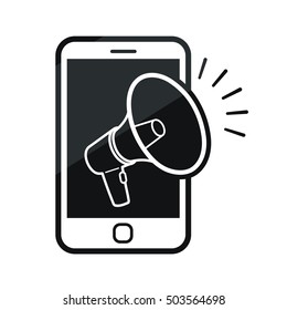 Mobile phone with a megaphone icon in black and white, vector illustration