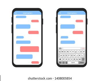 Mobile phone with message bubbles. Empty messages. Interface sms chat.