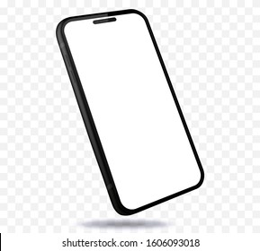 Mobile Phone Mockup With Perspective View. Black Smartphone Isolated on Transparent Background.
