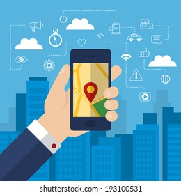 Mobile phone navigation app and gps concept with outline flat icons. Vector illustration