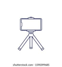 mobile phone on tripod, line icon