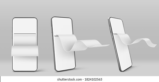 Mobile phone with paper financial bill in front and angle view. Concept of online payment, digital invoice and paycheck. Vector realistic mockup of smartphone with blank check tape
