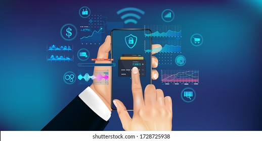 Mobile phone payment concept with NFS technologies. High payment security. Wireless cash transaction technology. Smartphone in hand with futuristic interface. Vector illustration NFS in HUD style