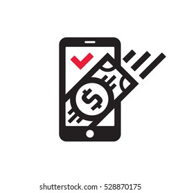 Mobile phone payment icon in flat style. Digital money dollar - vector logo template illustration. Smartphone currency - creative sign. Design element.