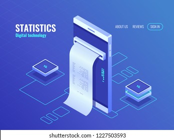 Mobile phone with payroll isometric icon, data on screen of smartphone, concept of data processing application 3d vector top view