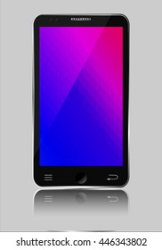 Mobile phone with polygonal mosaic background illustration