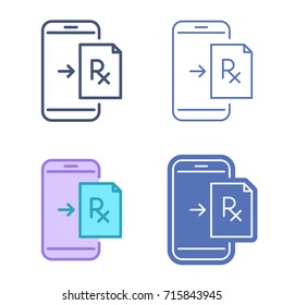 Mobile phone with prescription symbol. Rx document on the smartphone screen. Vector outline icon set. Telemedicine concept line symbols and pictograms. Thin contour infographic for web, presentations.