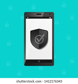Mobile Phone Protection Security Shield, Internet Firewall Antivirus Concept - Vector Illustration - Isolated On Monochome Background
