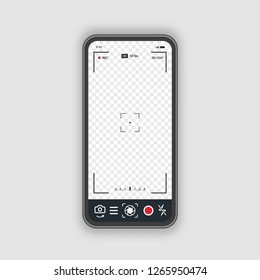 Mobile phone with record frame camera concept. Viewfinder template. Screen photography frame for video, snapshot photography, focusing screen. Cinematic view. Vector 10 eps