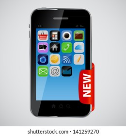 mobile phone with red label vector illustration