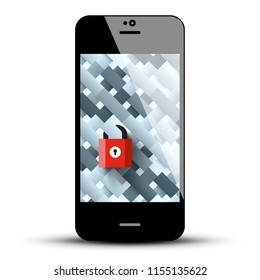 Mobile Phone with Red Lock on Screen. Internet Security Symbol.
