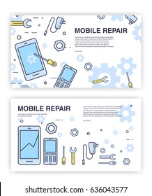 Mobile phone repair. Banners with smartphone and tools. service electronic technic.