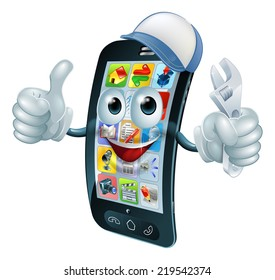 Mobile phone repair character with wrench or spanner giving thumbs up
