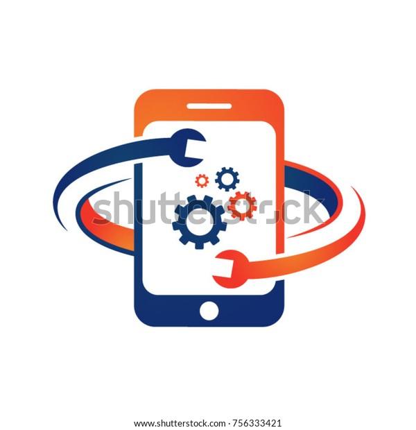Mobile Phone Repair Logo Stock Vector (Royalty Free) 756333421
