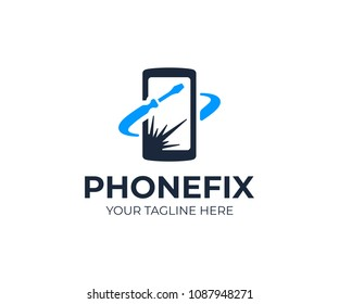 Mobile phone repair logo template. Broken screen on smartphone and screwdriver tool vector design. Fix phone screen logotype
