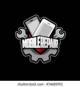 Mobile phone repair Logo vector,  emblem, icon.