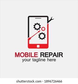 Mobile Phone Repair Logo.phone service logo, Rhone Repair, simple, concept, logo template - Vector